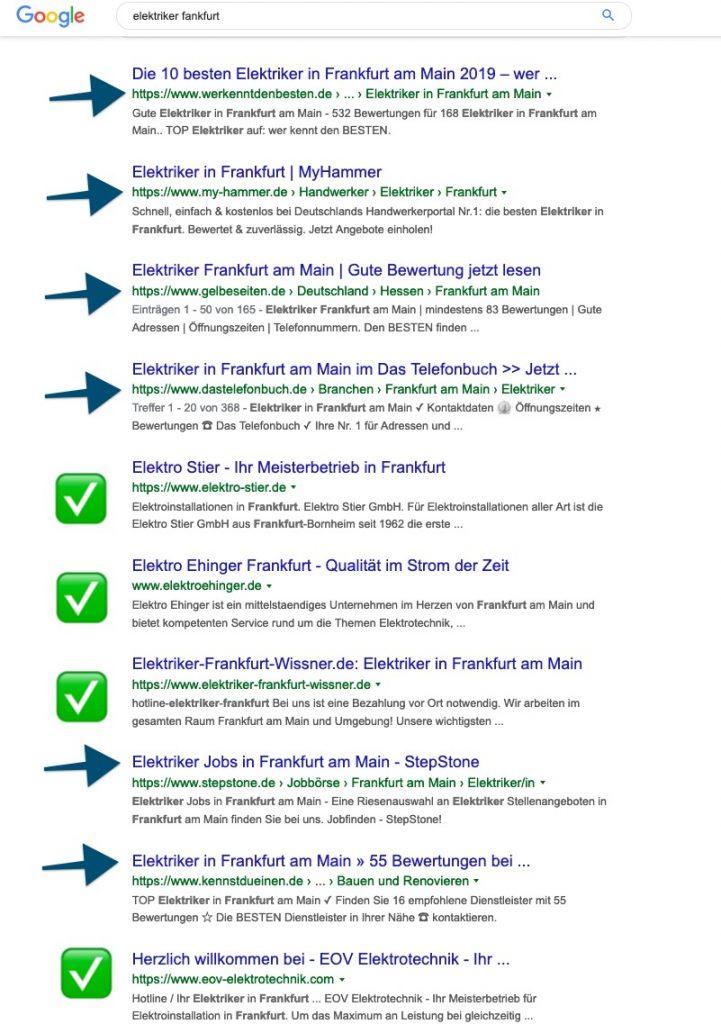 Handwerker Homepage Suche bei Google
