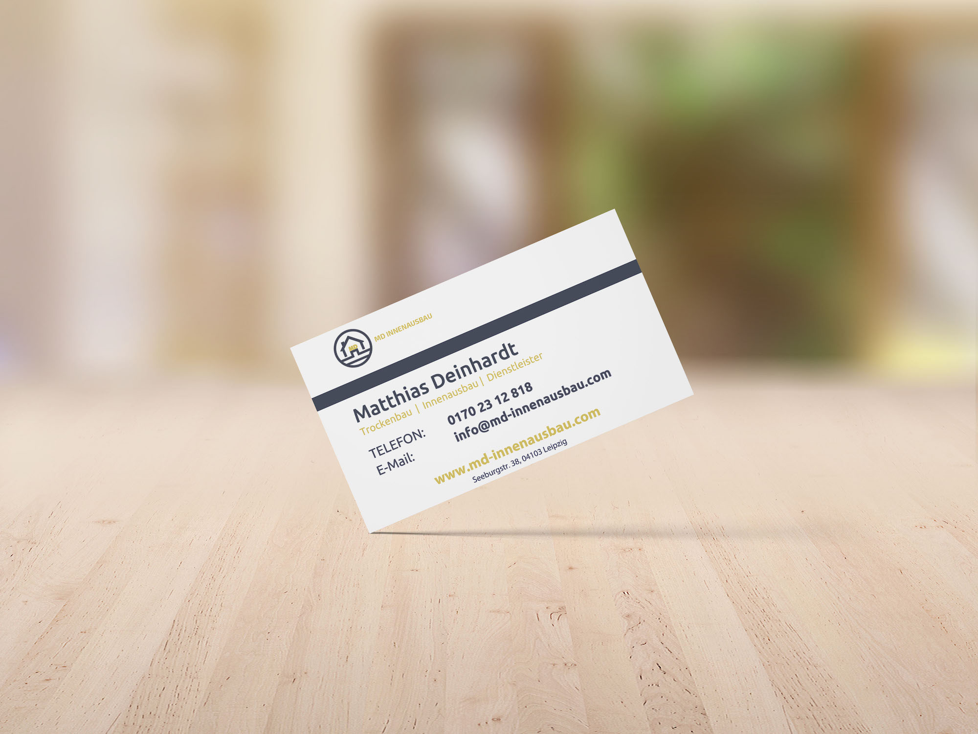 Visitenkarte für Handwerker. Das Bild zeigt eine Beispiel-Visitenkarte.